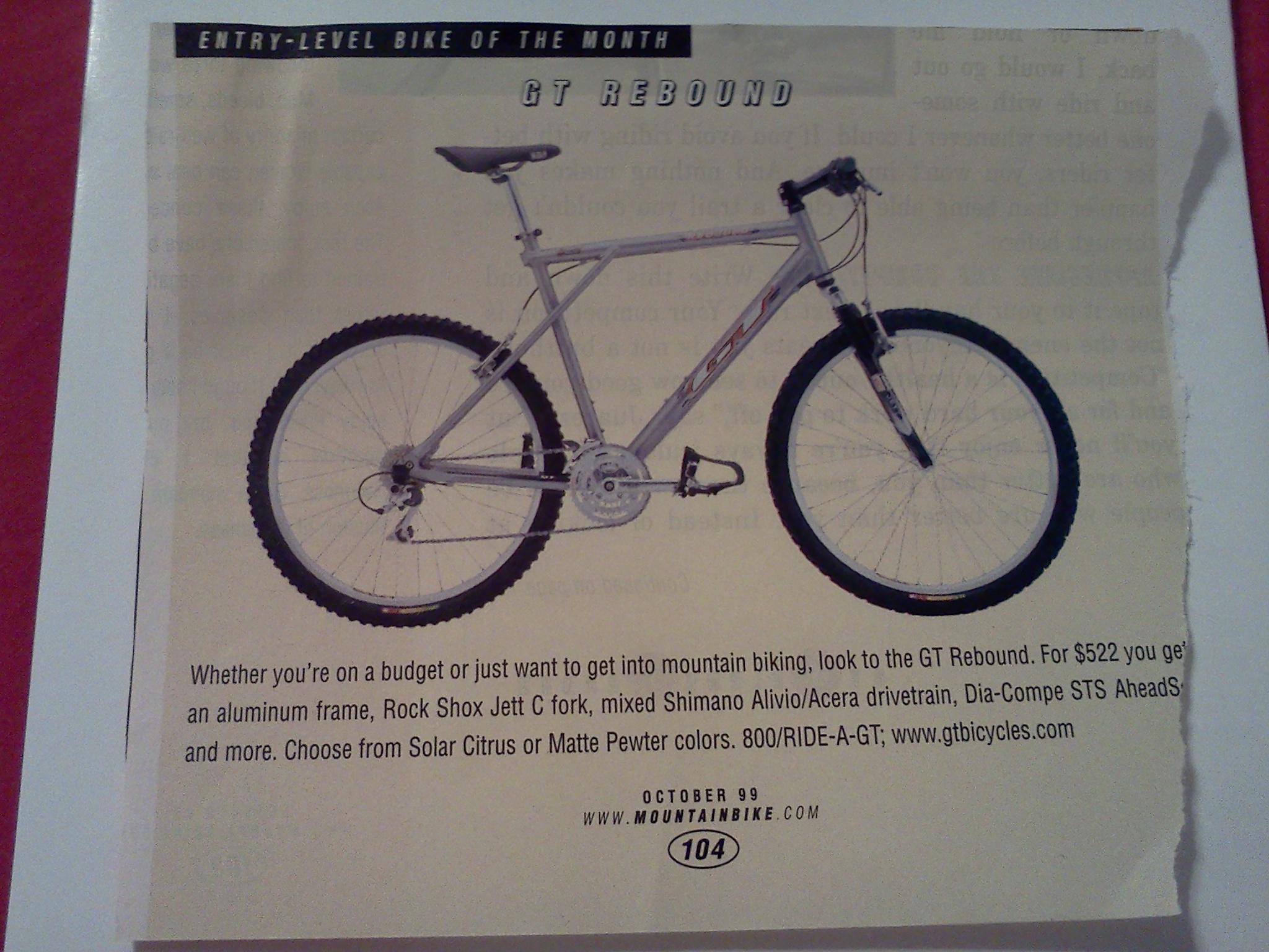 1999 Gt Rebound Chicago Stolen Bike Registry